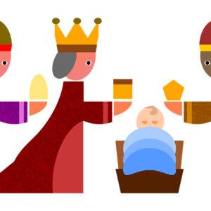 Comicartige Zeichnung von den drei Königen mit Jesuskind